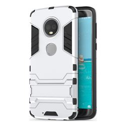 Armor Premium Tactical Grip Kickstand Shockproof Dual Layer Rugged Hard Cover for Motorola Moto G6 - Silver