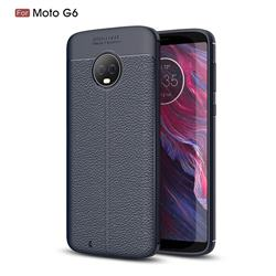 Luxury Auto Focus Litchi Texture Silicone TPU Back Cover for Motorola Moto G6 - Dark Blue
