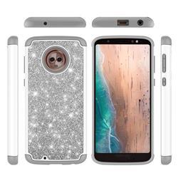 Glitter Rhinestone Bling Shock Absorbing Hybrid Defender Rugged Phone Case Cover for Motorola Moto G6 - Gray