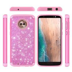 Glitter Rhinestone Bling Shock Absorbing Hybrid Defender Rugged Phone Case Cover for Motorola Moto G6 - Pink