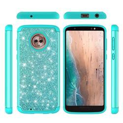 Glitter Rhinestone Bling Shock Absorbing Hybrid Defender Rugged Phone Case Cover for Motorola Moto G6 - Green