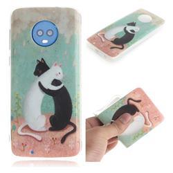 Black and White Cat IMD Soft TPU Cell Phone Back Cover for Motorola Moto G6