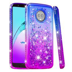 Diamond Frame Liquid Glitter Quicksand Sequins Phone Case for Motorola Moto G6 - Blue Purple