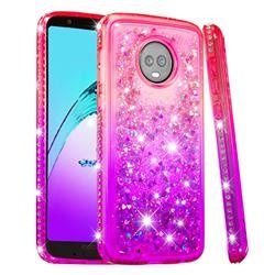Diamond Frame Liquid Glitter Quicksand Sequins Phone Case for Motorola Moto G6 - Pink Purple