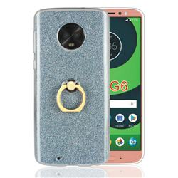 Luxury Soft TPU Glitter Back Ring Cover with 360 Rotate Finger Holder Buckle for Motorola Moto G6 - Blue