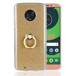 Luxury Soft TPU Glitter Back Ring Cover with 360 Rotate Finger Holder Buckle for Motorola Moto G6 - Golden