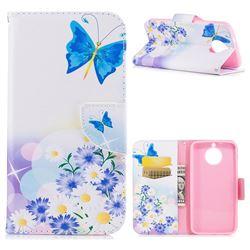 Butterflies Flowers Leather Wallet Case for Motorola Moto G6