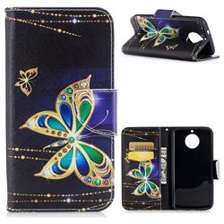 Golden Shining Butterfly Leather Wallet Case for Motorola Moto G6