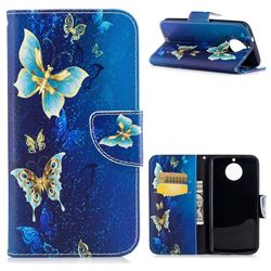 Golden Butterflies Leather Wallet Case for Motorola Moto G6