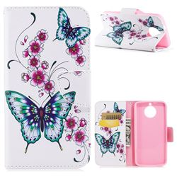 Peach Butterflies Leather Wallet Case for Motorola Moto G6