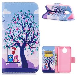 Tree and Owls Leather Wallet Case for Motorola Moto G6