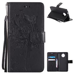 Embossing Butterfly Tree Leather Wallet Case for Motorola Moto G6 - Black