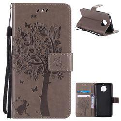 Embossing Butterfly Tree Leather Wallet Case for Motorola Moto G6 - Grey