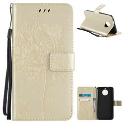 Embossing Butterfly Tree Leather Wallet Case for Motorola Moto G6 - Champagne