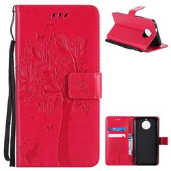 Embossing Butterfly Tree Leather Wallet Case for Motorola Moto G6 - Rose