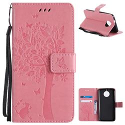 Embossing Butterfly Tree Leather Wallet Case for Motorola Moto G6 - Pink