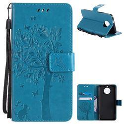 Embossing Butterfly Tree Leather Wallet Case for Motorola Moto G6 - Blue