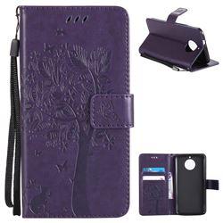 Embossing Butterfly Tree Leather Wallet Case for Motorola Moto G6 - Purple