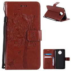 Embossing Butterfly Tree Leather Wallet Case for Motorola Moto G6 - Brown