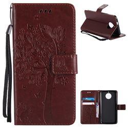 Embossing Butterfly Tree Leather Wallet Case for Motorola Moto G6 - Coffee