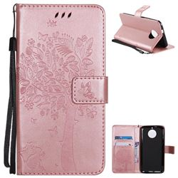 Embossing Butterfly Tree Leather Wallet Case for Motorola Moto G6 - Rose Pink