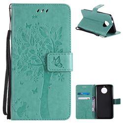 Embossing Butterfly Tree Leather Wallet Case for Motorola Moto G6 - Cyan