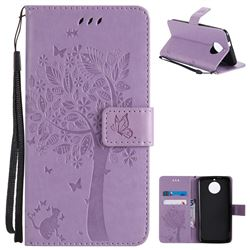 Embossing Butterfly Tree Leather Wallet Case for Motorola Moto G6 - Violet