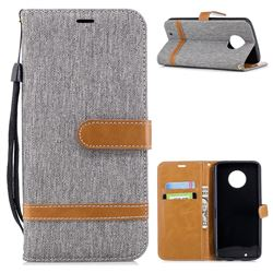 Jeans Cowboy Denim Leather Wallet Case for Motorola Moto G6 - Gray