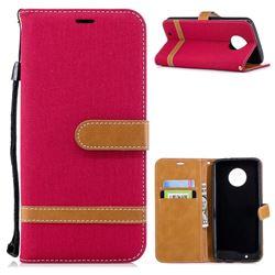 Jeans Cowboy Denim Leather Wallet Case for Motorola Moto G6 - Red