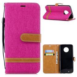 Jeans Cowboy Denim Leather Wallet Case for Motorola Moto G6 - Rose