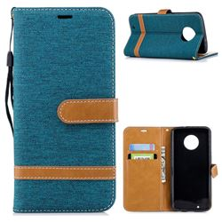 Jeans Cowboy Denim Leather Wallet Case for Motorola Moto G6 - Green