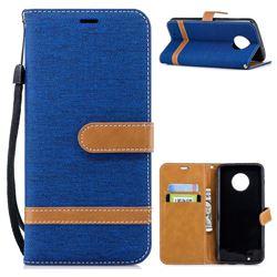 Jeans Cowboy Denim Leather Wallet Case for Motorola Moto G6 - Sapphire