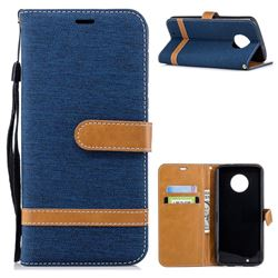 Jeans Cowboy Denim Leather Wallet Case for Motorola Moto G6 - Dark Blue