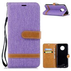 Jeans Cowboy Denim Leather Wallet Case for Motorola Moto G6 - Purple