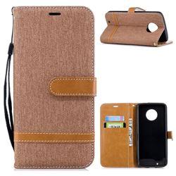 Jeans Cowboy Denim Leather Wallet Case for Motorola Moto G6 - Brown