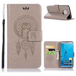 Intricate Embossing Owl Campanula Leather Wallet Case for Motorola Moto G6 - Grey