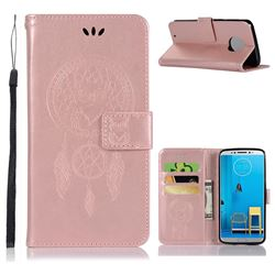 Intricate Embossing Owl Campanula Leather Wallet Case for Motorola Moto G6 - Rose Gold