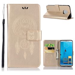 Intricate Embossing Owl Campanula Leather Wallet Case for Motorola Moto G6 - Champagne
