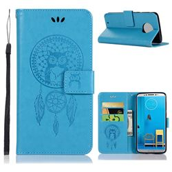 Intricate Embossing Owl Campanula Leather Wallet Case for Motorola Moto G6 - Blue