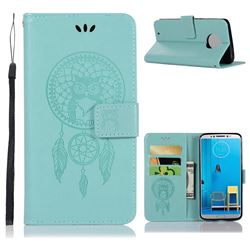 Intricate Embossing Owl Campanula Leather Wallet Case for Motorola Moto G6 - Green