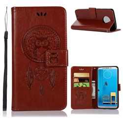 Intricate Embossing Owl Campanula Leather Wallet Case for Motorola Moto G6 - Brown