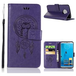 Intricate Embossing Owl Campanula Leather Wallet Case for Motorola Moto G6 - Purple