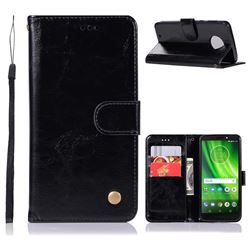 Luxury Retro Leather Wallet Case for Motorola Moto G6 - Black