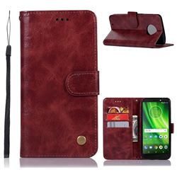 Luxury Retro Leather Wallet Case for Motorola Moto G6 - Wine Red