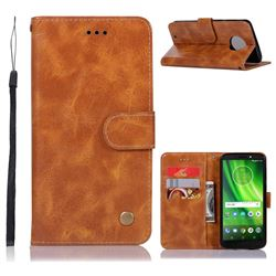 Luxury Retro Leather Wallet Case for Motorola Moto G6 - Golden