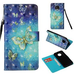 Gold Butterfly 3D Painted Leather Wallet Case for Motorola Moto G6