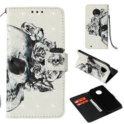 Skull Flower 3D Painted Leather Wallet Case for Motorola Moto G6