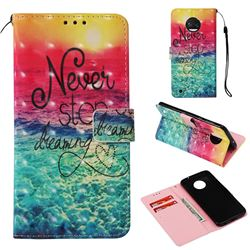 Colorful Dream Catcher 3D Painted Leather Wallet Case for Motorola Moto G6
