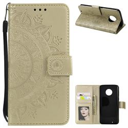 Intricate Embossing Datura Leather Wallet Case for Motorola Moto G6 - Golden