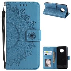 Intricate Embossing Datura Leather Wallet Case for Motorola Moto G6 - Blue